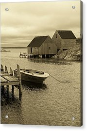 Peggys Cove In Sepia Acrylic Print by Richard Bryce and Family