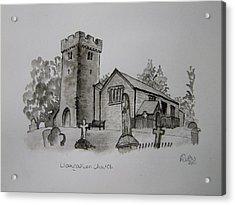 Pen And Ink-llangathen Church-01 Acrylic Print by Pat Bullen-Whatling