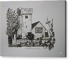 Pen And Ink-llangathen Church-02 Acrylic Print by Pat Bullen-Whatling