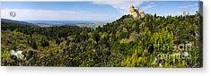 Pena Palace Panorama Acrylic Print by Carlos Caetano