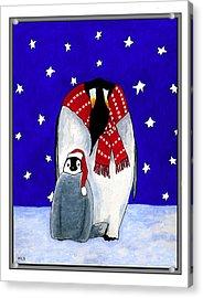 Penguin's First Christmas Acrylic Print by Marla Saville