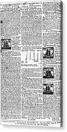 Pennsylvania Gazette, C1749 Acrylic Print by Granger