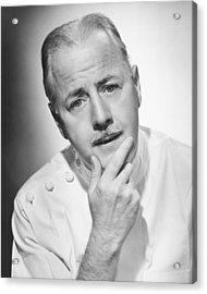 Pensive Doctor Posing In Studio, (b&w), Portrait Acrylic Print by George Marks