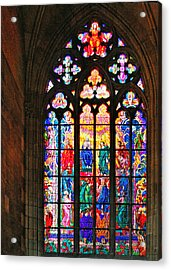 Pentecost Window - St. Vitus Cathedral Prague Acrylic Print by Christine Till