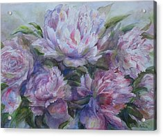Acrylic Print featuring the painting Peonies by Bonnie Goedecke