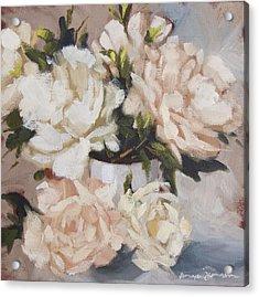Peonies In White Vase Acrylic Print