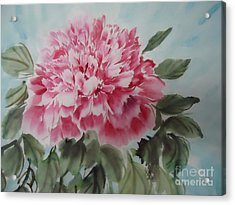 Acrylic Print featuring the painting Peony --2--2012 by Dongling Sun
