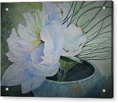 Peony And Grass Acrylic Print
