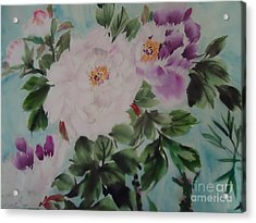 Acrylic Print featuring the painting Peony Qiao --1 by Dongling Sun