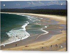 People Enjoy Broulee Beach Near Tomakin Acrylic Print by Simon Foale