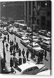 People On Busy City Street W/traffic Acrylic Print by George Marks
