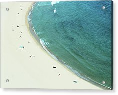 People Relaxing On Beach Acrylic Print by G Fletcher