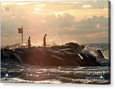 People Walking On New Buffalo Michigan Breakwater Acrylic Print by Christopher Purcell