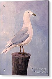 Acrylic Print featuring the painting Perched Seagull by Gretchen Allen