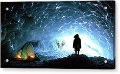 Person In Ice Cave, Appa Glacier Acrylic Print