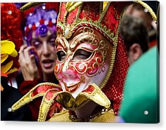 Person In Venetian Mask, New Orleans Mardi Gras Acrylic Print by Ray Laskowitz