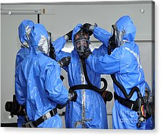 Personnel Dressed In Hazmat Suits Acrylic Print by Stocktrek Images