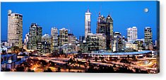 Acrylic Print featuring the photograph Perth City Night View From Kings Park by Yew Kwang