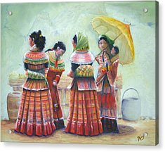 Peruvian Ladies Acrylic Print by Catherine Link