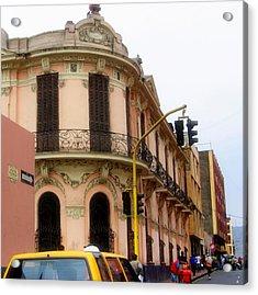 Peruvian Streets Acrylic Print by Karen Wiles