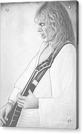 Peter Frampton Black And White Acrylic Print by Denise Haddock