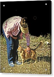 Petting The Ranch Cat Acrylic Print by Lenore Senior and Dawn Senior-Trask