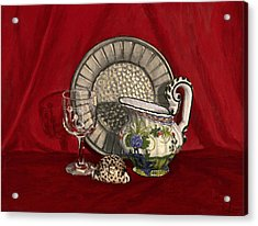 Pewter Dish With Red Cloth. Acrylic Print