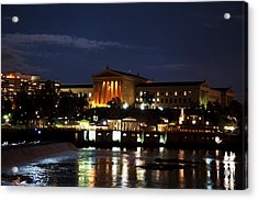 Philadelphia Art Museum And Waterworks All Lit Up Acrylic Print by Bill Cannon