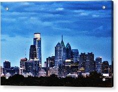 Philadelphia At Night Acrylic Print by Bill Cannon