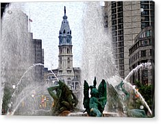 Philadelphia Fountain Acrylic Print by Bill Cannon