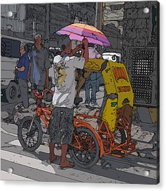 Philippines 870 Bicycle Taxi Acrylic Print by Rolf Bertram