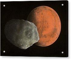 Phobos And Mars, Artwork Acrylic Print by Richard Bizley