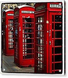 Phone Booths At Royal Mile #edinburgh Acrylic Print