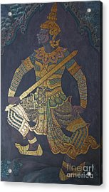 photo of art painting on Thai temple wall Acrylic Print by Komkrit Muanchan