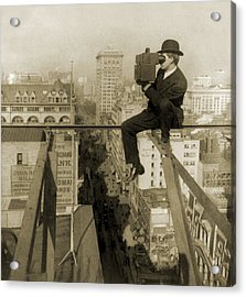 Photographer Perched On Slender Beam 18 Acrylic Print by Everett