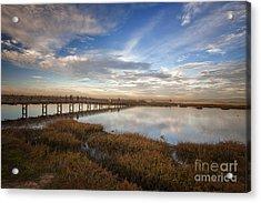 Photographers On Bridge At Sunset Acrylic Print