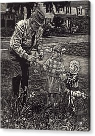 Picking Flowers With Grandpa Acrylic Print by Robert Goudreau