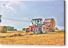 Picking Up Hay Acrylic Print by Barry Jones