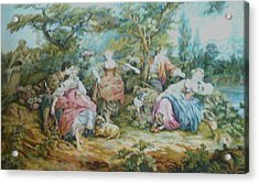 Picnic In France Tapestry Acrylic Print by Unique Consignment