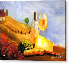 Picnic In The Vineyard Acrylic Print by Therese Alcorn