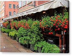 picturesque restaurant terrace in Gdansk Poland Acrylic Print by Sophie Vigneault