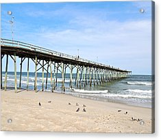 Pier At Kure Beach Acrylic Print by Eve Spring
