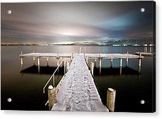 Pier At Night Acrylic Print by daitoZen