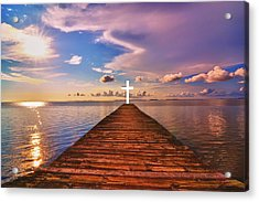 Pier Into Heaven Acrylic Print by Kelly Reber