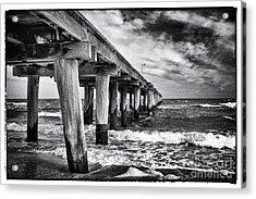 Pier To The Horizon - Black And White Acrylic Print by Hideaki Sakurai