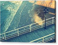 Pier With Lamp On Coast Of North Sea Acrylic Print by Photo by Ira Heuvelman-Dobrolyubova