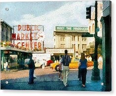 Pike Place Market Acrylic Print by Michelle Calkins
