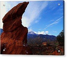 Acrylic Print featuring the photograph Jut Rock Over Pikes Peak by Clarice  Lakota