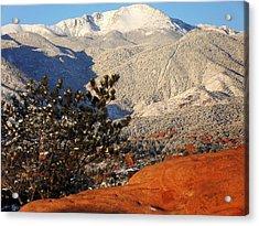 Acrylic Print featuring the photograph Pikes Peak Stunning Snow by Clarice  Lakota