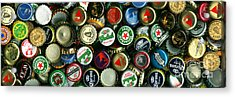 Pile Of Beer Bottle Caps . 3 To 1 Proportion Acrylic Print by Wingsdomain Art and Photography